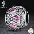 925 joyas de plata de lujo de color rosa corazón pavimenta la bola encantos fit pandora original pulsera brazalete accesorios s279