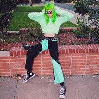 Streetwear High Waist Stitching Pants Women Punk Hip Hop Flare Pants Patchwork Casual Trousers Sutumn