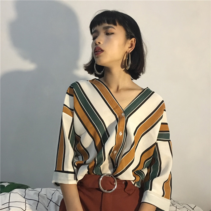 2018 New Summer Fashion Women Striped Print Blouse Sexy V-neck Batwing Sleeve Shirts Casual Ladies Loose Button Tops(China)