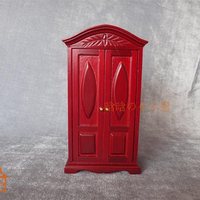 Wooden Red Carved Cabinet Dollhouse Miniature Furniture 1/12 Scale #C011