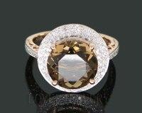 4.66Ct Solid 14kt розовое золото алмаз дым топаз Круглый 10x10 мм обручение обручальное кольцо
