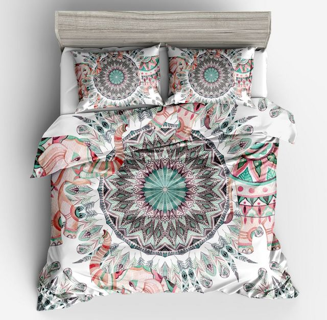 US $43 52 32% OFF Hot Simple fashion style circle 100% Polyester Print  Quilt cover fashion 3D quilt cover set twin full Queen King size bed set-in