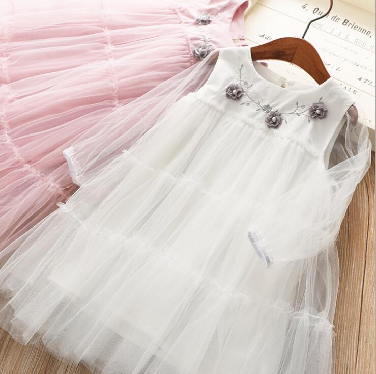 2019 Children Girls Fairy Tulle Floral Mesh Spring  Dresses, Princess Fashion Pink White  Dress  5 pcs/lot, Wholesale