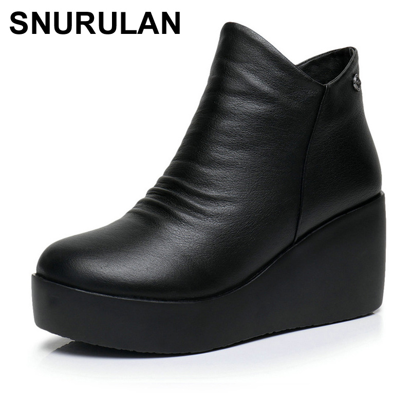 SNURULAN 2018 New Autumn Winter Women Shoes Woman Genuine Leather Wedges Snow Boots Height Increasing Ankle Women Boots E044 elixa e044 l137