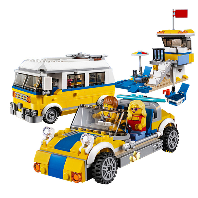 424pcs Diy Beach Vehicle Series Summer Vacation The Sunshine Surfer Van Model Compatible With L Brand Brick Toys Gift For Kid kid s home toys 70pcs set the number fruit train number paradise model large particles block brick kid toy compatible with duplo