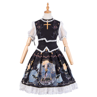 Lolita Dress Short Sleeve Lace and Ruffles Patchwork Printed Black Lolita One Piece Dress with Cincher