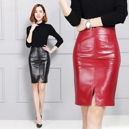 red Black Falda De K136 Cuero Slim Piel Genuino Oveja Cadera Mujeres Las R1CvwPx