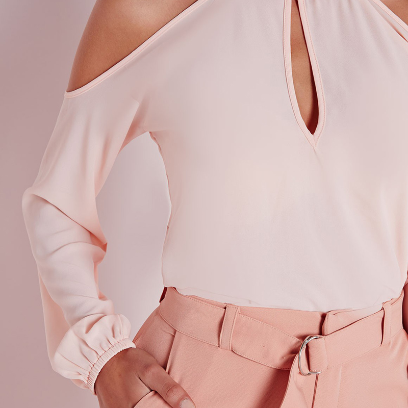 Long sleeve pink cold shoulder blouses women spring chest cut out sexy tops ladies autumn balloon sleeve elegant work shirts