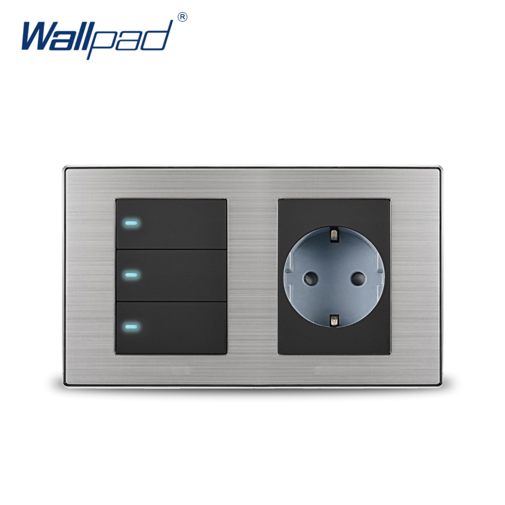 2018 Wallpad 3 Gang 2 Way Switch With EU German Standard Schuko Socket Wall Power Socket Outlet Satin Metal Panel LED Indicator scinder switched socket package 15 steel frame two or three five hole electrical outlet wall switch panel switch
