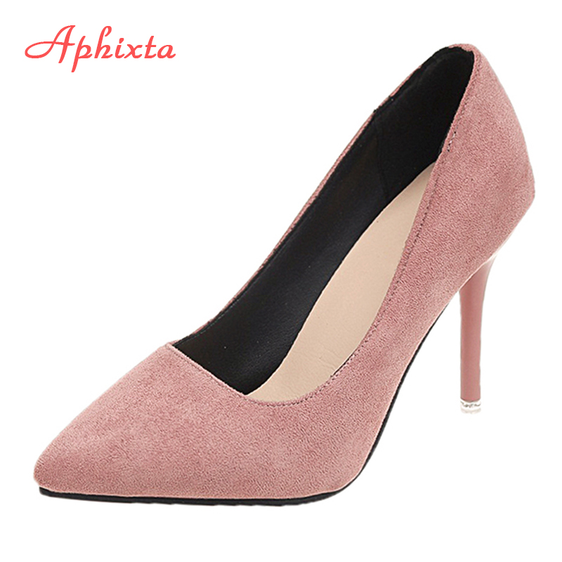 Aphixta Shoes Woman Super High Heels Pumps Nude 10cm Thin Heels Wedding Shoes Party Ladies Shoes US Large Size 48 Classic Pumps