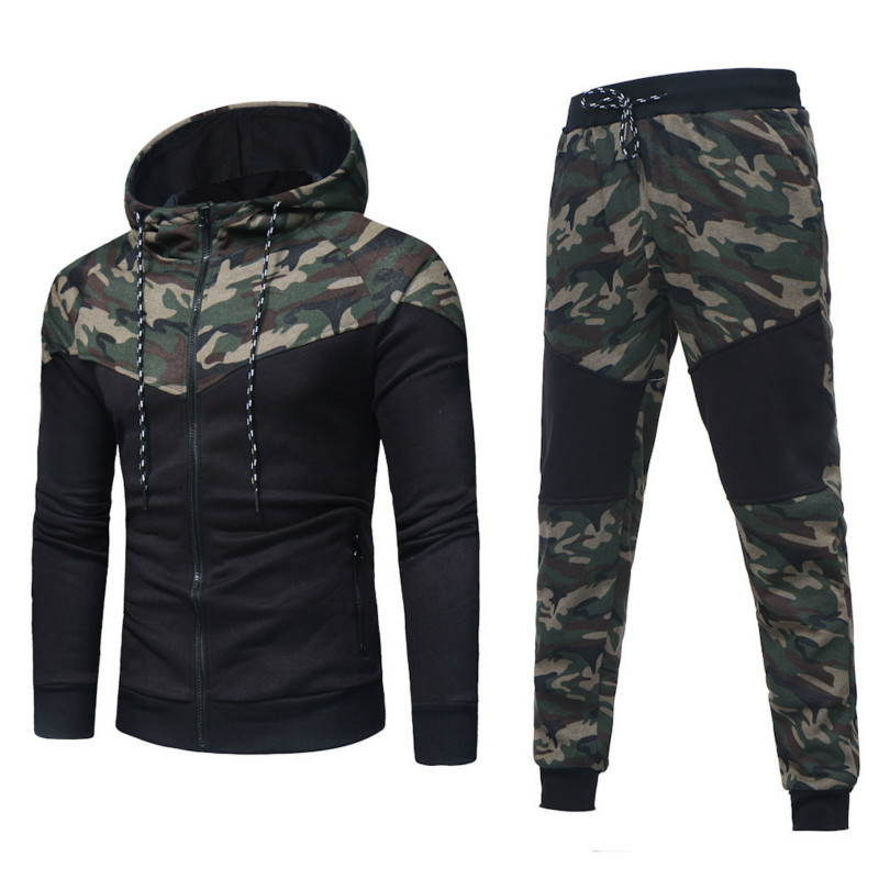 Men Set Camouflage suit Male Hoodie Trouser for Mens