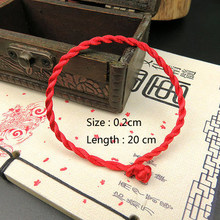 2018 1PC Red Black Thread String Handmade Rope Bracelet(China)