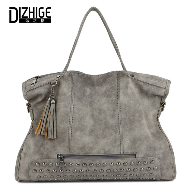 DIZHIGE Brand Fashion Tassel Rivet Luxury Handbags Women Bags Designer  Handbag Leather Women Shoulder Bag Famous 8ceb4417dde2b