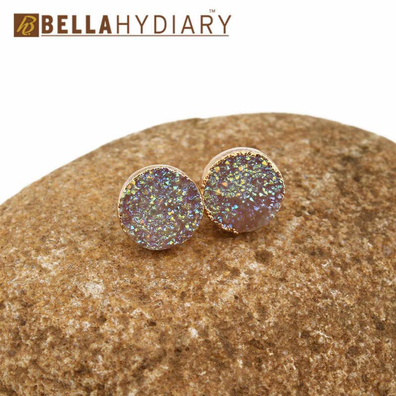 קטן Bijoux נקבה Round עגילים לנשים תכשיטי Drusy Druzy Geode שרף Stud עגילי מתנת חרישת Mujer Moda 2019