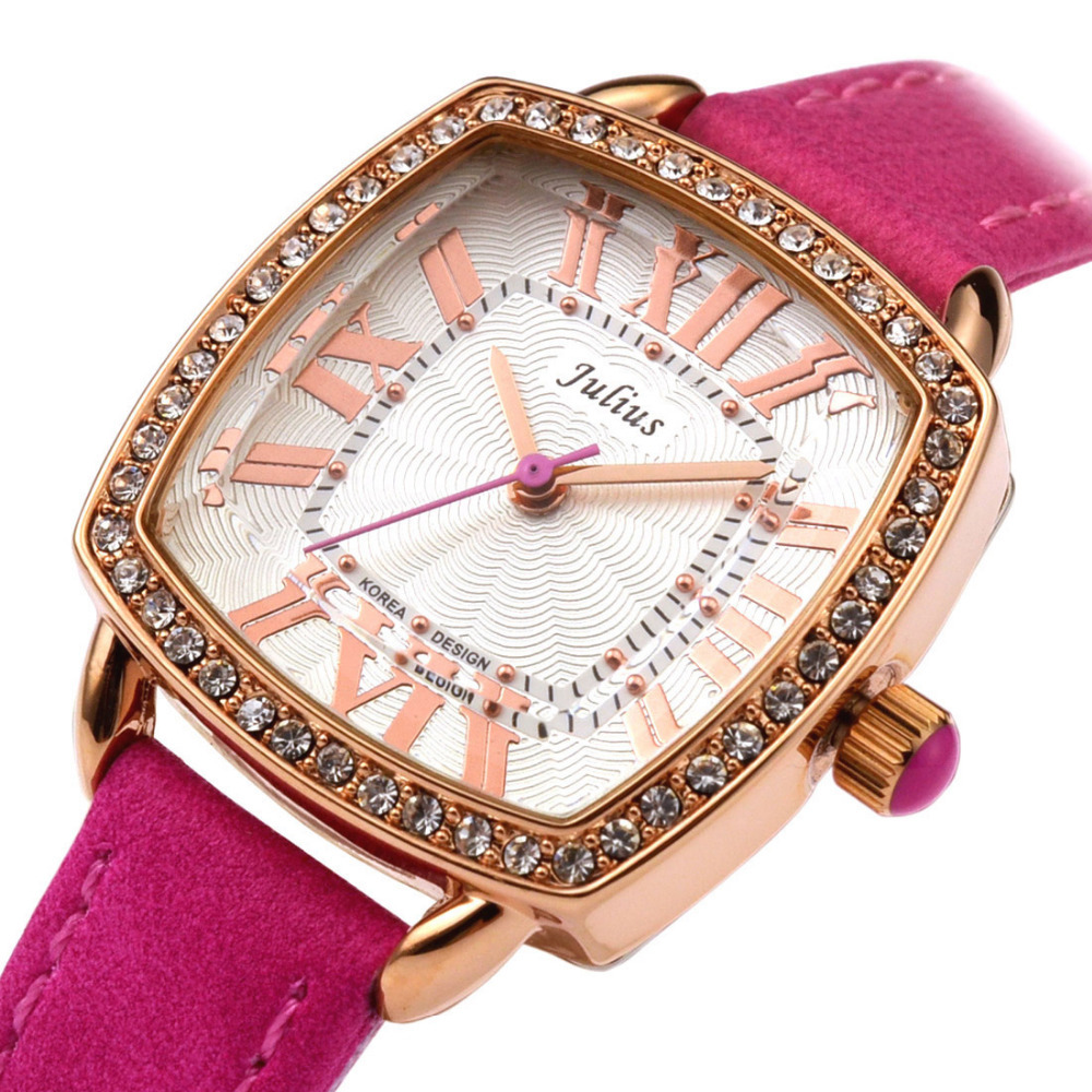 Top Julius Lady Woman Wrist Watch Fashion Hours Dress Bracelet Leather Rhinestone Candy Color Student Girl Birthdya Gift