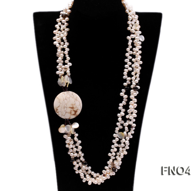 JYX Pearl Long Necklace white 8*9mm natural freshwater pearl,seashell, somky quartz and white turquoise necklaceJYX Pearl Long Necklace white 8*9mm natural freshwater pearl,seashell, somky quartz and white turquoise necklace