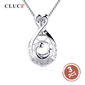 Image 1 - CLUCI 3 قطعة 925 فضة البيضاوي على شكل سحر قلادة الفضة 925 قلادة للنساء عيد الأم هدية مجوهرات SC354SB