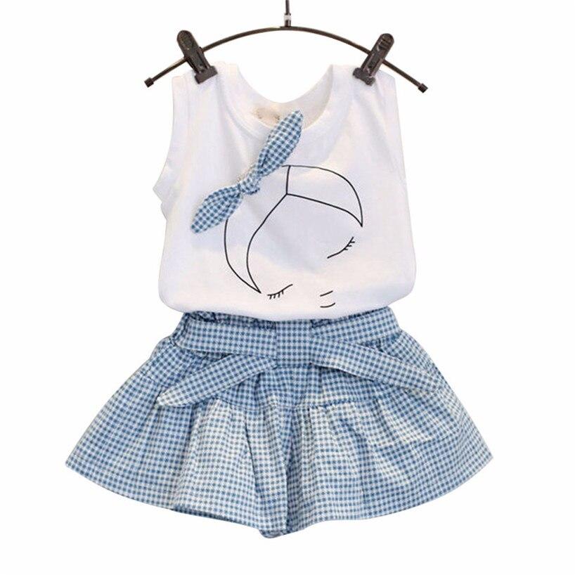 ARLONEET Kids Girls Party Dresss leeveless Cute Bow Girl Pattern Shirt Top Grid Shorts Set Clothing jan29/P