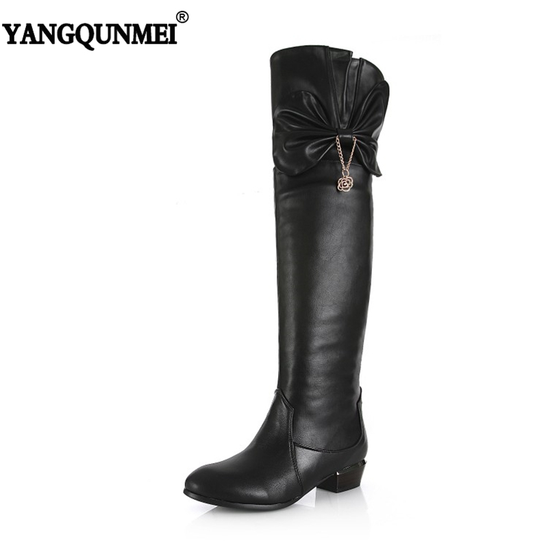 YANGQUNMEI 2018 New Genuine Leather + PU Belt Buckle Bow Woman's Shoes Fashion Over The Knee Boots For Women Size 32-45 simplicity buckle and pu leather design women s over the knee boots