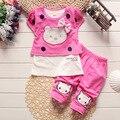 Новый Летний Лук Дети Девочки Комплект Одежды Hello Kitty футболка + шорты Хлопок Новорожденных Девочек Костюмы мода Набор Девушки Детей Одежда