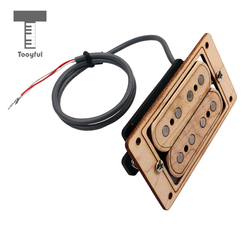 Tooyful Hand Wound Humbucker Double Pickup Maple Wood for Cigar Box 4 String Guitars