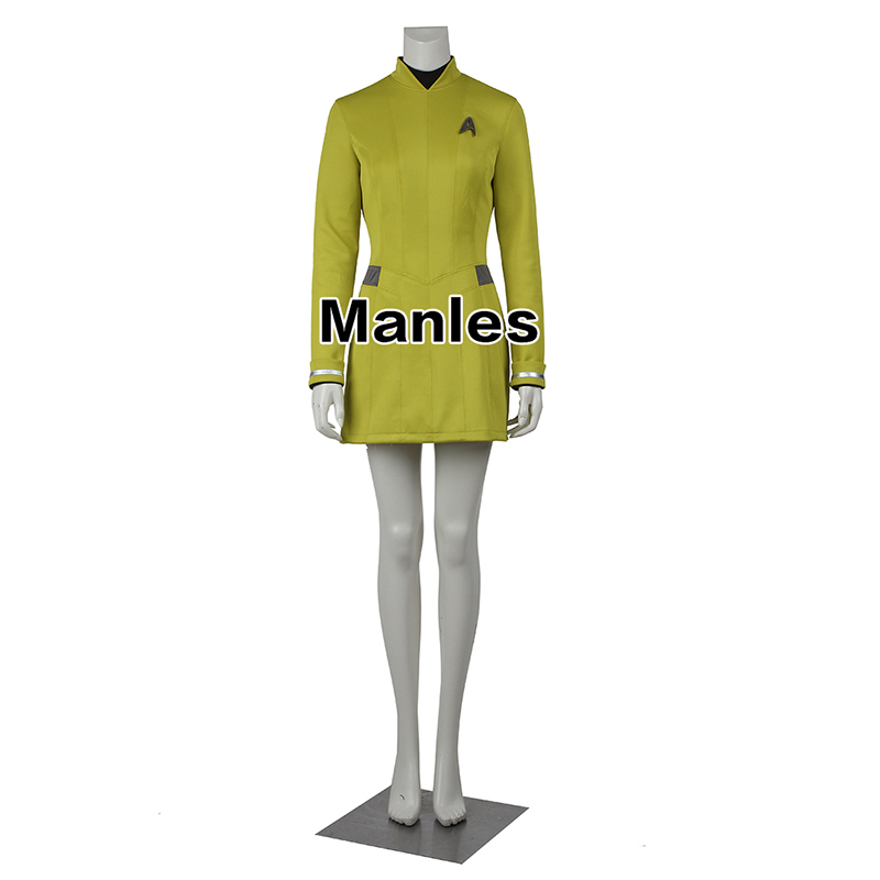 Star Trek Dress Star Trek Beyond Cospaly Costume Star Trek Yellow Uniform with Free Badge Adult Women Halloween Cosplay Costume