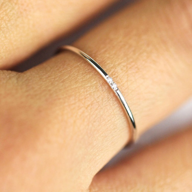 Simple Zircon Ring Gift for Her. Thin Ring Stacking Ring Sterling Silver Ring Gold Minimalist Ring Stacking Band Dainty Ring