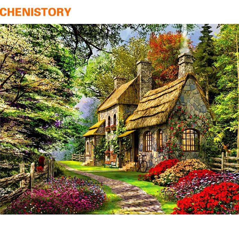 """CHENISTORY numbrite järgi maalimine \""""Maaliline metsamaja\"""" 40x50cm. Tarne 15-23 päeva."""