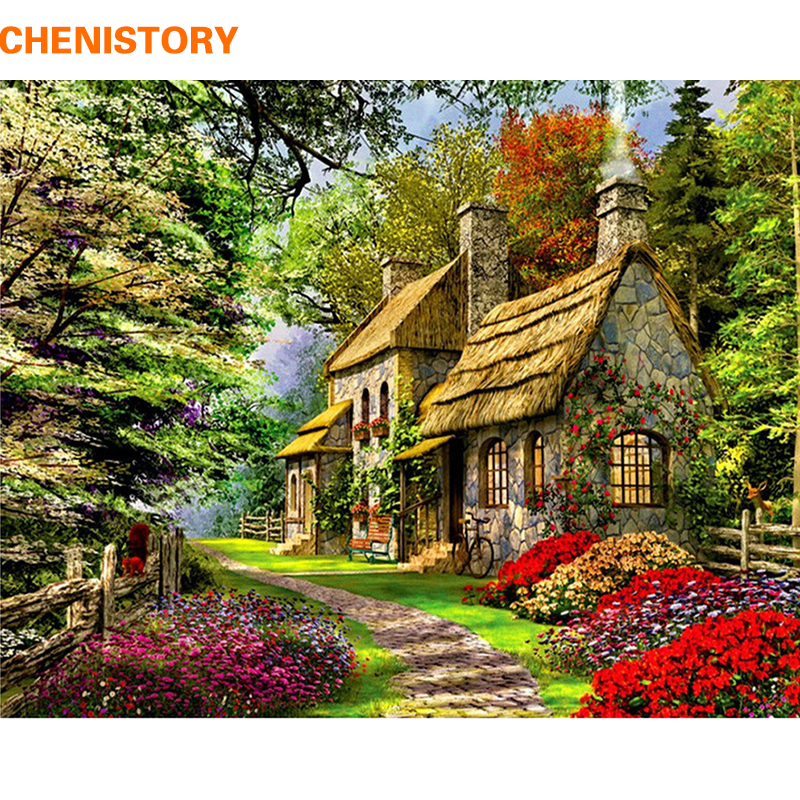 CHENISTORY Frameless Rural Landscape DIY Painting By Numbers Acrtylic Handpainted Oil Painting For Home Decor 40x50cm