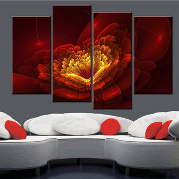 4 Panel No Frame Canvas Pictures for Living Room Red Flower Abstract Oil Painting Posters and Prints Modern Nordic Free Shipping no frame canvas