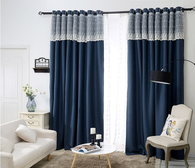 buy sunnyrain 1 piece navy luxury curtain for living room blackout curtain for. Black Bedroom Furniture Sets. Home Design Ideas