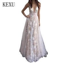 KEXU Woman Sexy Deep V-nevk Spaghetti Strap Dresses New Fashion Lace See Through Maxi Dress Summer Wedding Party Wear Robe Femme