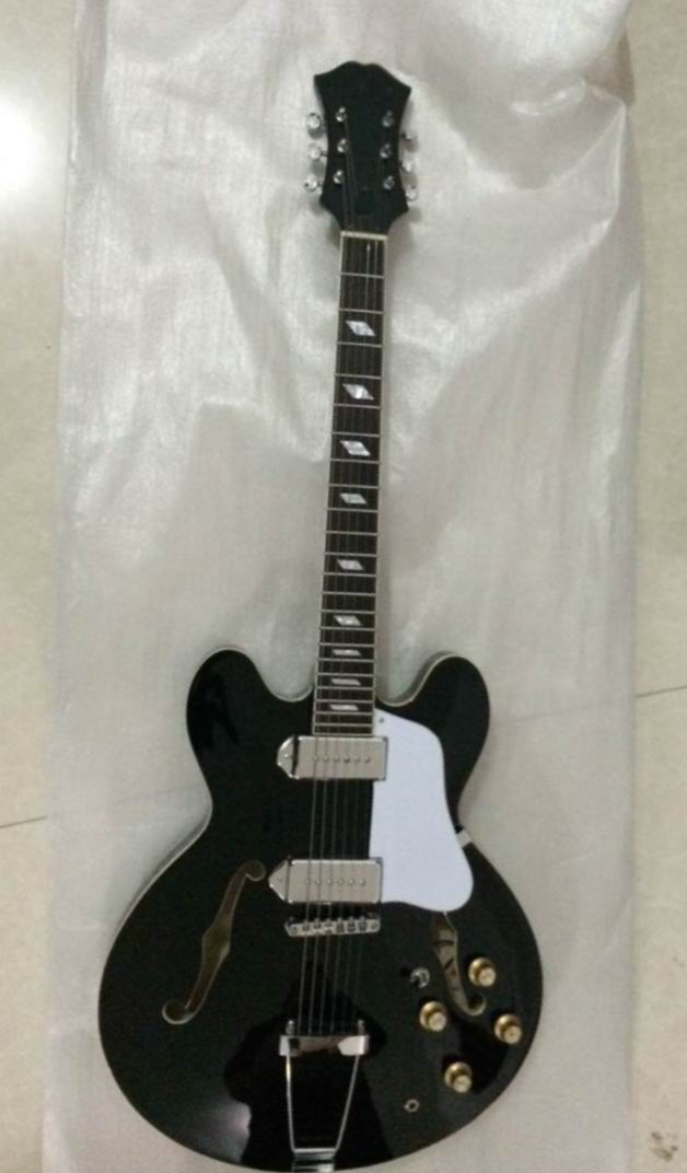 Wholesale Jazz electric guitar with F hole chrome hardware semi hollow body in black 141105 es 335 50th anniversary 1963 jazz es 335 semi hollow body electric guitar 5a quilt maple top gold hardware