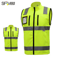 SFVEST HI VIS GILET REFLECTIVE WAISTCOAT ELASTIC OXFORD 3M SCOTCHLITE TAPES MOTORCYCLE VEST WITH ID POCKETS