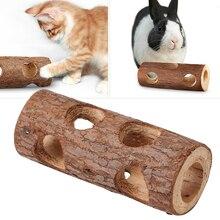 Подарок, игрушка для домашних животных, кошка, маленький животный, Веселый безопасный Деревянный туннель, полое дерево, кролик, собака, зубы, шлифовальные мыши, твердая трубка для хомяка