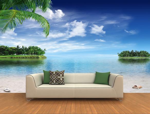 wall sticker 3d coco beach blue sky wallpaper mural wallpapers 3d