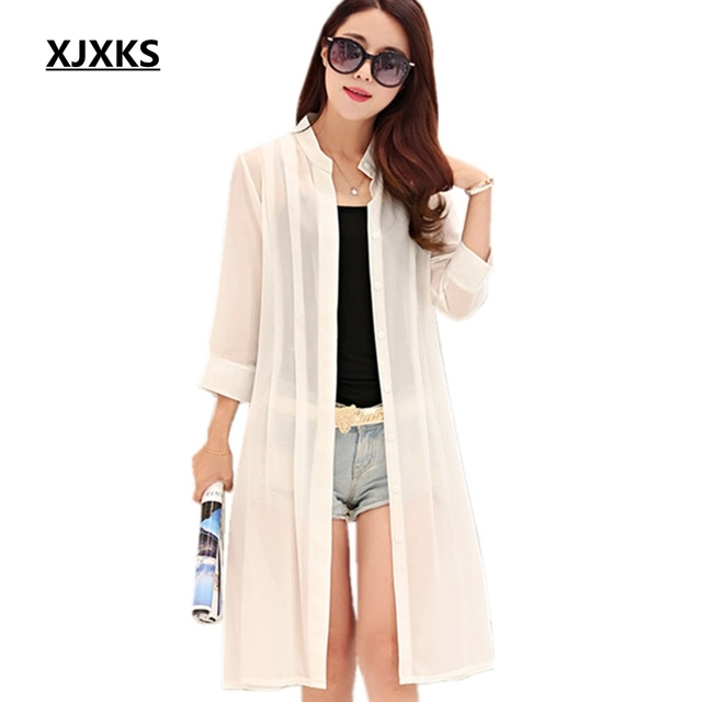 XJXKS Women Summer coat Print 3/4 Sleeve Casual Loose Long Chiffon ...