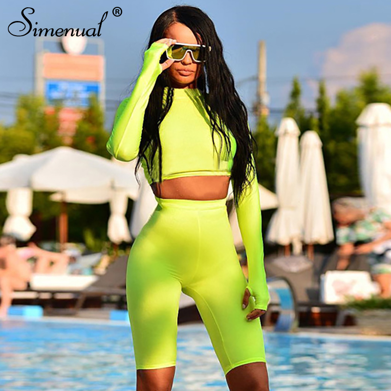 Simenual Fitness Two Piece Biker Shorts And Top Set Women Long Sleeve Tracksuits Bodycon Neon Color Casual Fashion Sets Push Up