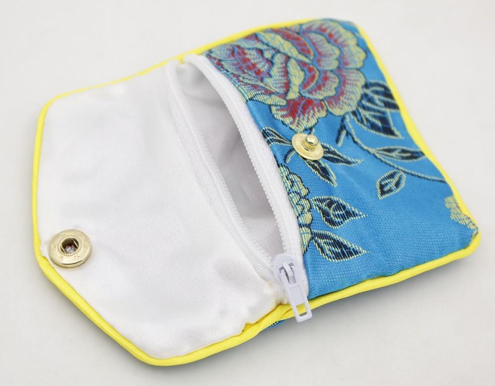 Купить с кэшбэком 10 Pcs Blue Silk Cloth Jewelry Button Tiny Bags Pouch 65mmX80mm Multi Purpose