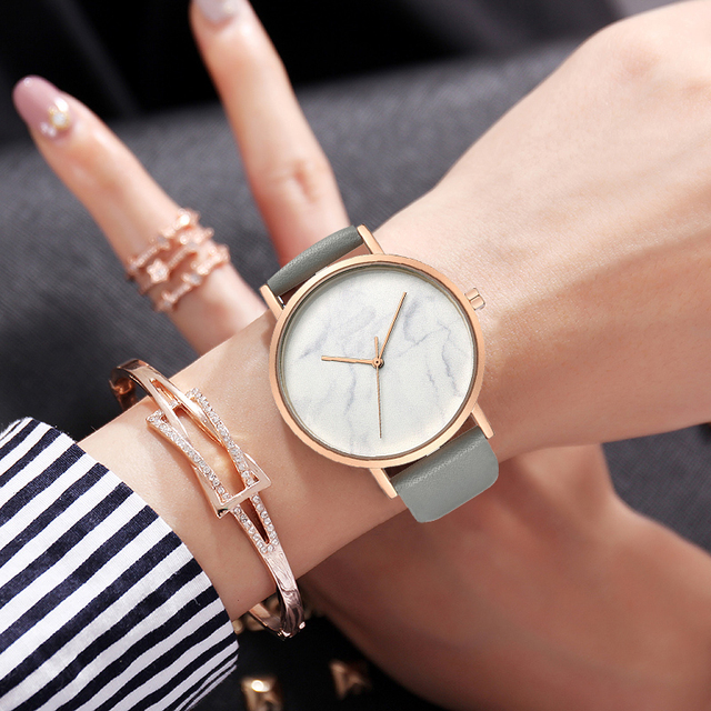 Minimalist style Marble women Watches Platimum ladies dress Wristwatch genuine L