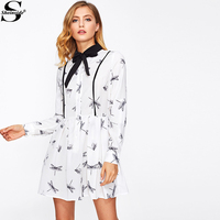 Sheinside Casual Tunic Women Summer Style 2016 Cute Mini Dresses Ladies White Long Sleeve Dragonfly Print