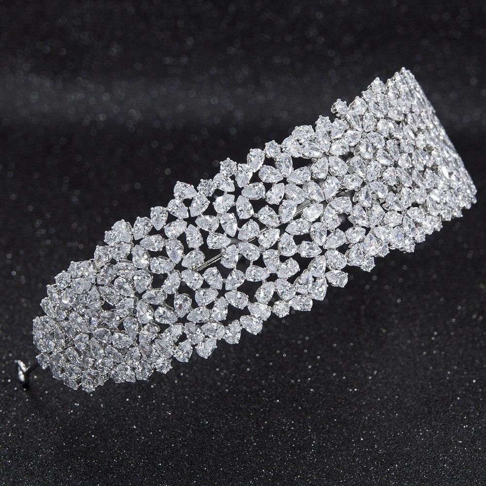 2019 nuevo cristal Zirconia cúbico nupcial boda suave Tiara de diadema pelo accesorios de la joyería de belleza CHA10015-in Joyería para el cabello from Joyería y accesorios    3