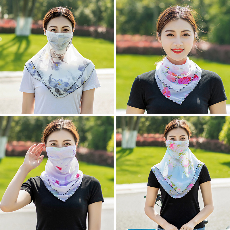 2019 NEW Fashion Sunscreen triangle scarf neck mask female summer UV protection breathable thin mask riding veil shade