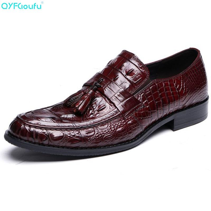 Formal De Couro Plana Dedo Luxo Preto Pé vermelho Oxford Genuíno Redondo Do Se Vestem Vestido Borla 2019 Crocodilo Homens Vinho Homem Sapatos Padrão Qyfcioufu qY07pE