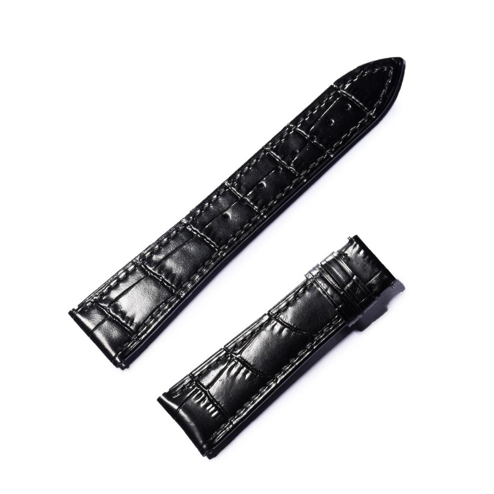 Reef Tiger RT Crocodile Pattern Watch Strap Genuine Leather Wrist Watch Band Black Brown Men Watch