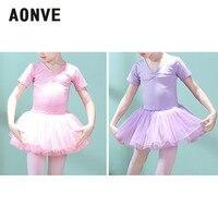 d3591fde7d ... Roupas de Balé Bailarina Vestido Manga Curta Bow Knot Unitard Ballet  Tutu Terno item. AONVE Children S Dance Wear Girls Ballet Clothes Ballerina  Dress ...