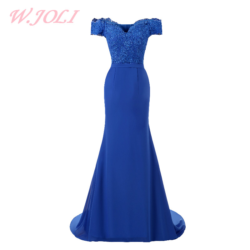 W.JOLI Long Evening Dress Candy Blue Embroidery Elegant Prom Dresses Count Train Vestido De Festa Vintage Night Dress