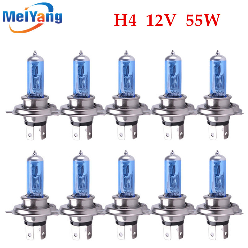 10pcs H4 55W 12V Super White Fog Lights Halogen Bulb High Power Car Headlight Lamp Car Light Source parking Head auto high quality h3 led 20w led projector high power white car auto drl daytime running lights headlight fog lamp bulb dc12v