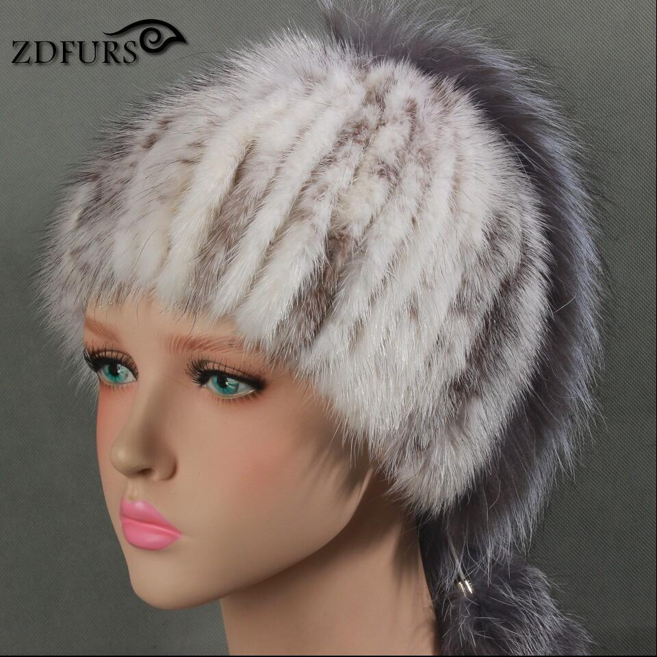Glaforny 2017 Real Mink Fur Skullies with Silver Fox Fur Stripes Winter Warm Fur Hats with Lining 4 Colors skullies