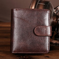 Luxury Vintage 100% Cow Leather Vertical Men Short Wallets Natural Skin Casual Fashion Men's Wallet Purse New Arrival Hot Sale